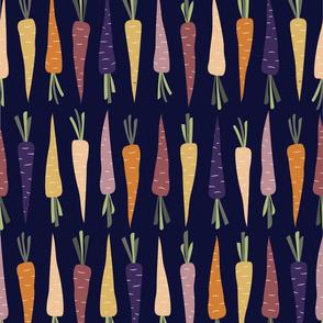 Fall Rainbow Carrots on Dark Blue