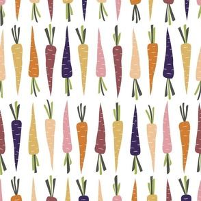 Fall Rainbow Carrots on White