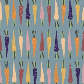 Fall Rainbow Carrots on Blue Gray