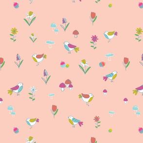 Little Woodland Birds - Pink