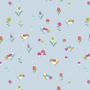Woodland Birds-Blue