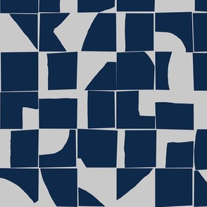 Navy and Gray Modern Abstract Tiles Small Scale