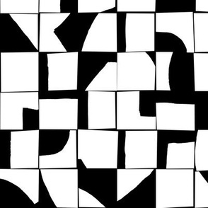 Black and White Inverse Geometric Abstract Mosaic Small Scale