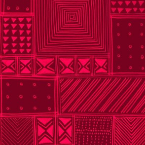 African Red Tribal Mud Cloth