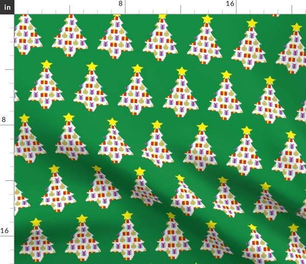 Christmas Tree With Presents.Fabric By The Yard Presents In A Christmas Tree With Green