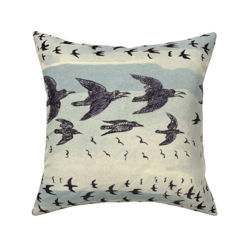 Catalan Throw Pillow featuring caw caw ecru blue by whatever-works