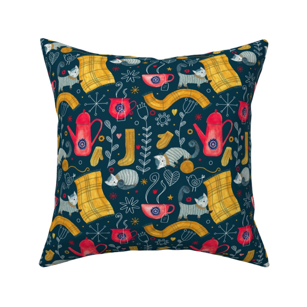 Catalan Throw Pillow featuring Patter #71 - Hygge snuggly winter  by irenesilvino