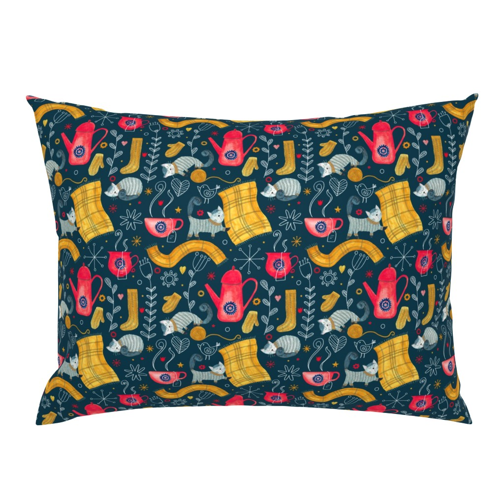 Campine Pillow Sham featuring Patter #71 - Hygge snuggly winter  by irenesilvino