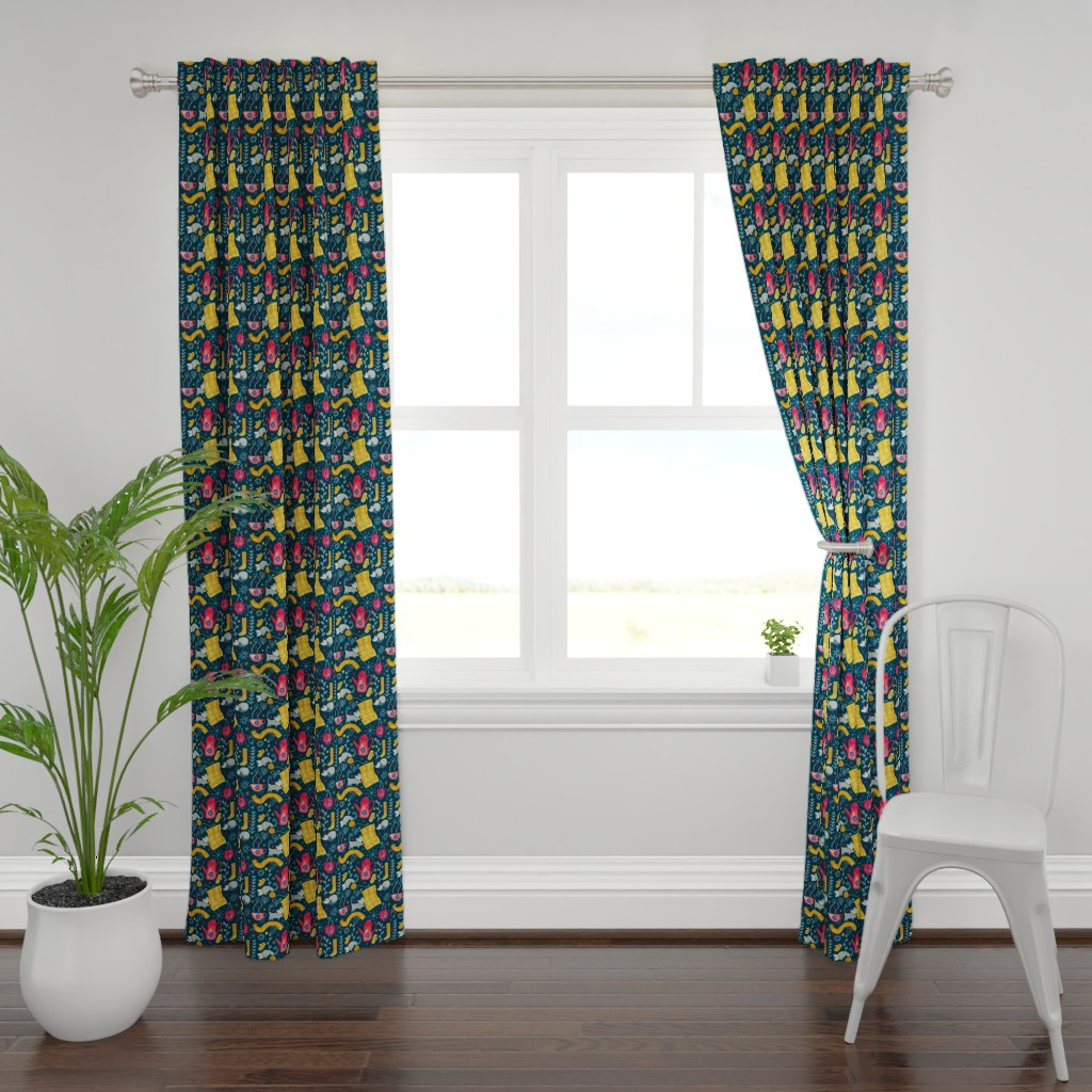 Plymouth Curtain Panel featuring Patter #71 - Hygge snuggly winter  by irenesilvino