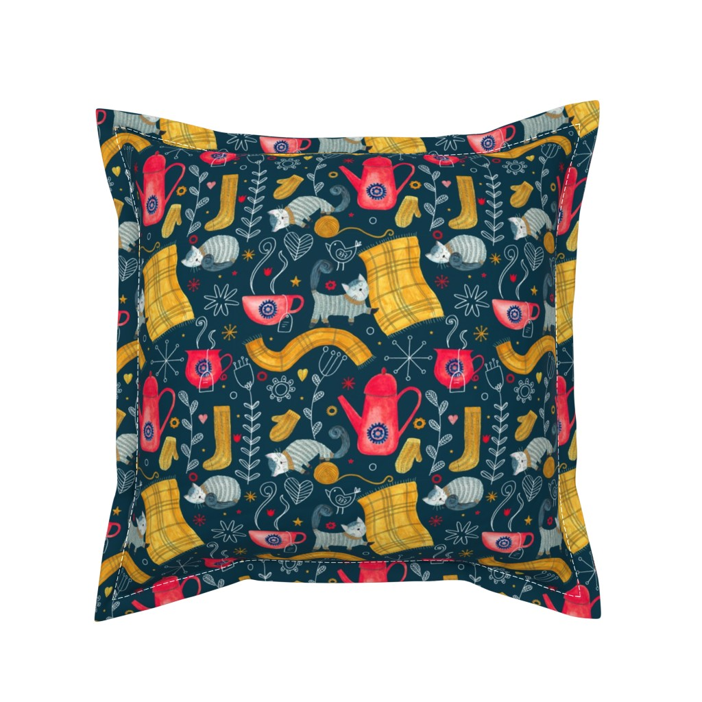 Serama Throw Pillow featuring Patter #71 - Hygge snuggly winter  by irenesilvino