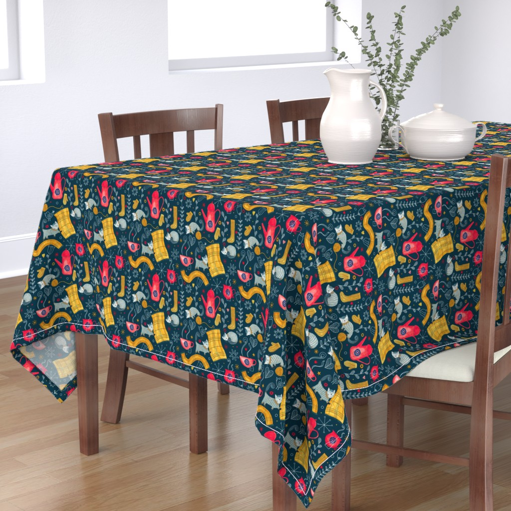 Bantam Rectangular Tablecloth featuring Patter #71 - Hygge snuggly winter  by irenesilvino
