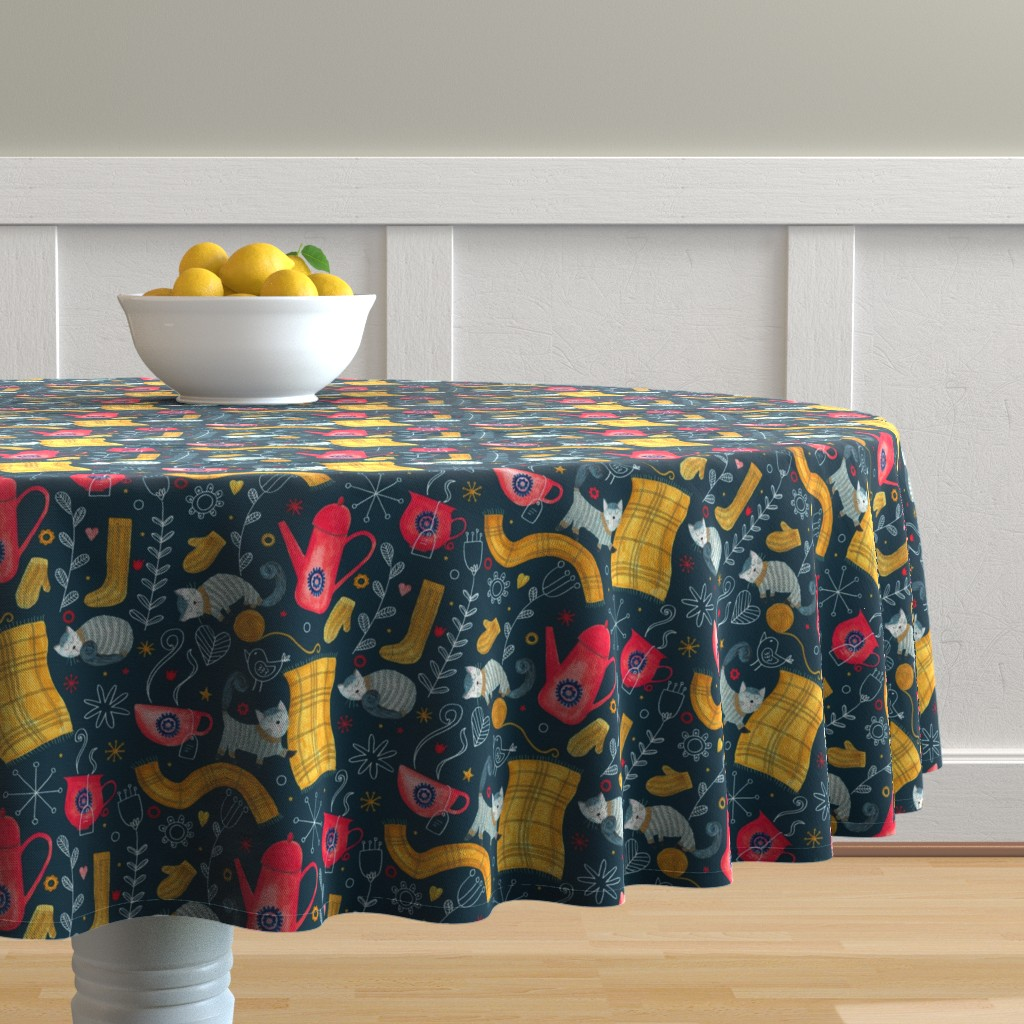 Malay Round Tablecloth featuring Patter #71 - Hygge snuggly winter  by irenesilvino