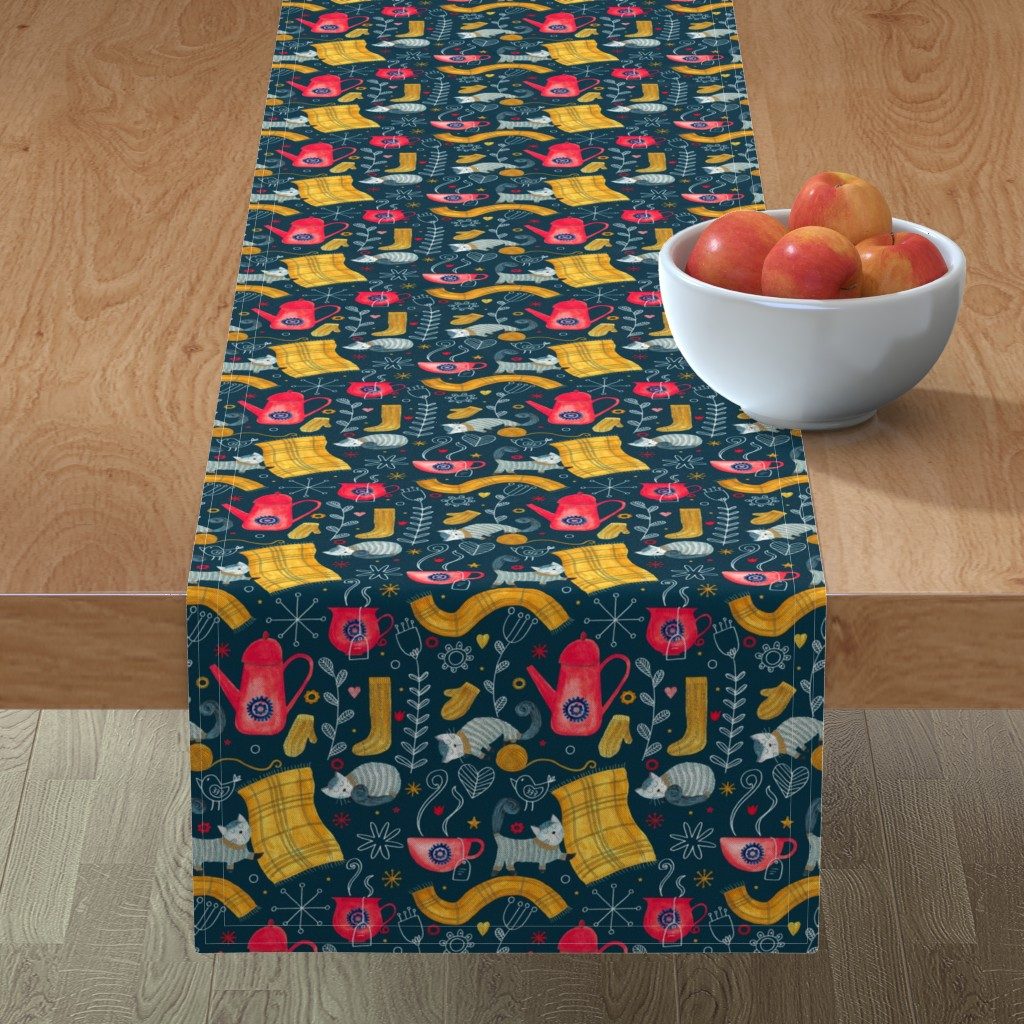 Minorca Table Runner featuring Patter #71 - Hygge snuggly winter  by irenesilvino