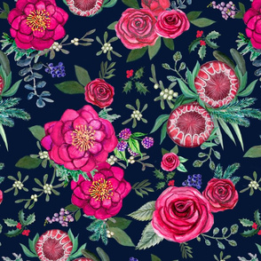 Christmas Floral Burgundy, navy & Pink watercolor