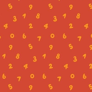 Orange numbers on red