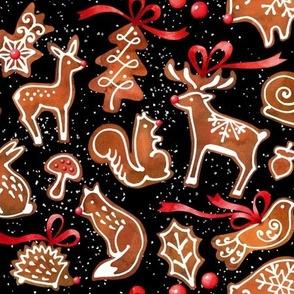 Woodland Gingerbread  Black Background
