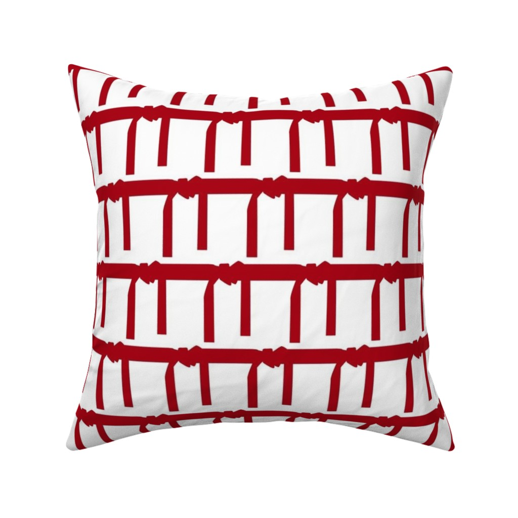 Catalan Throw Pillow featuring Three Inch Martial Arts Dark Red Belt on White by mtothefifthpower