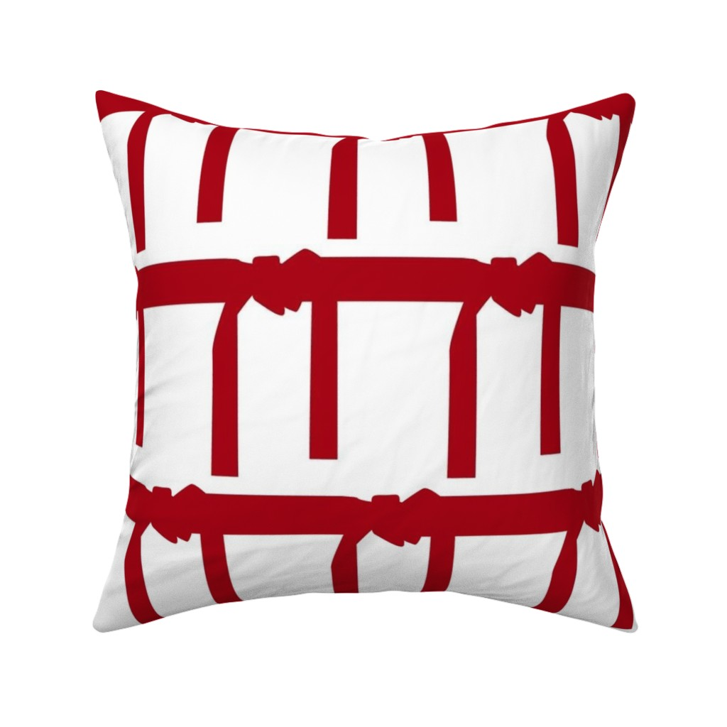 Catalan Throw Pillow featuring Six Inch Martial Arts Dark Red Belt on White by mtothefifthpower