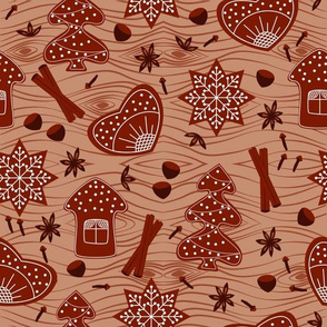 Gingerbread with spices on the background of wood
