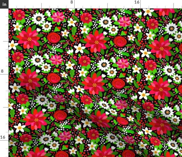 Poinsettia Red Floral Red Flowers A Spoonflower