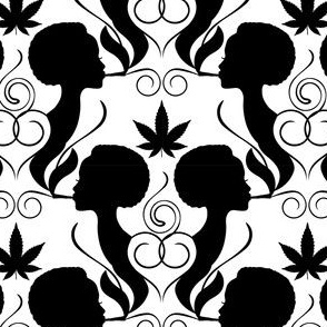 Smoking Silhouette - Cannabis Black & White