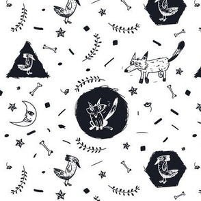 black and white forest animals