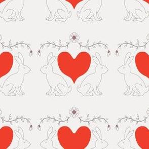 Bunny & Heart - Very Light Gray
