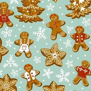 Vintage Style Gingerbread Cookies in the Snow