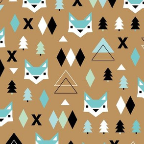 Geometric fox and pine tree illustration pattern ochre mint boys