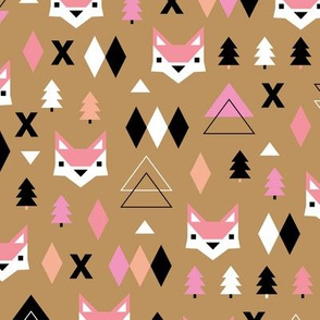 Geometric fox and pine tree illustration pattern ochre pink girls