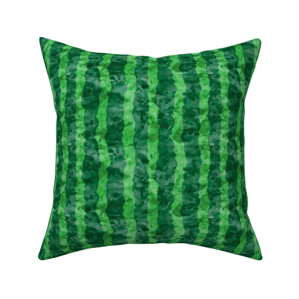 Catalan Throw Pillow featuring watermelon skin - green watercolor  by littlearrowdesign