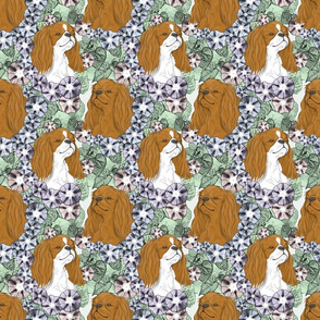 Floral English Toy Spaniel portraits