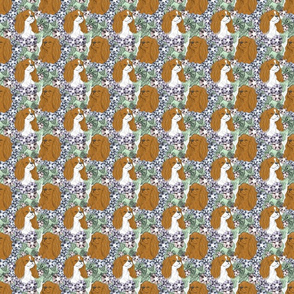 Floral English Toy Spaniel portraits - small