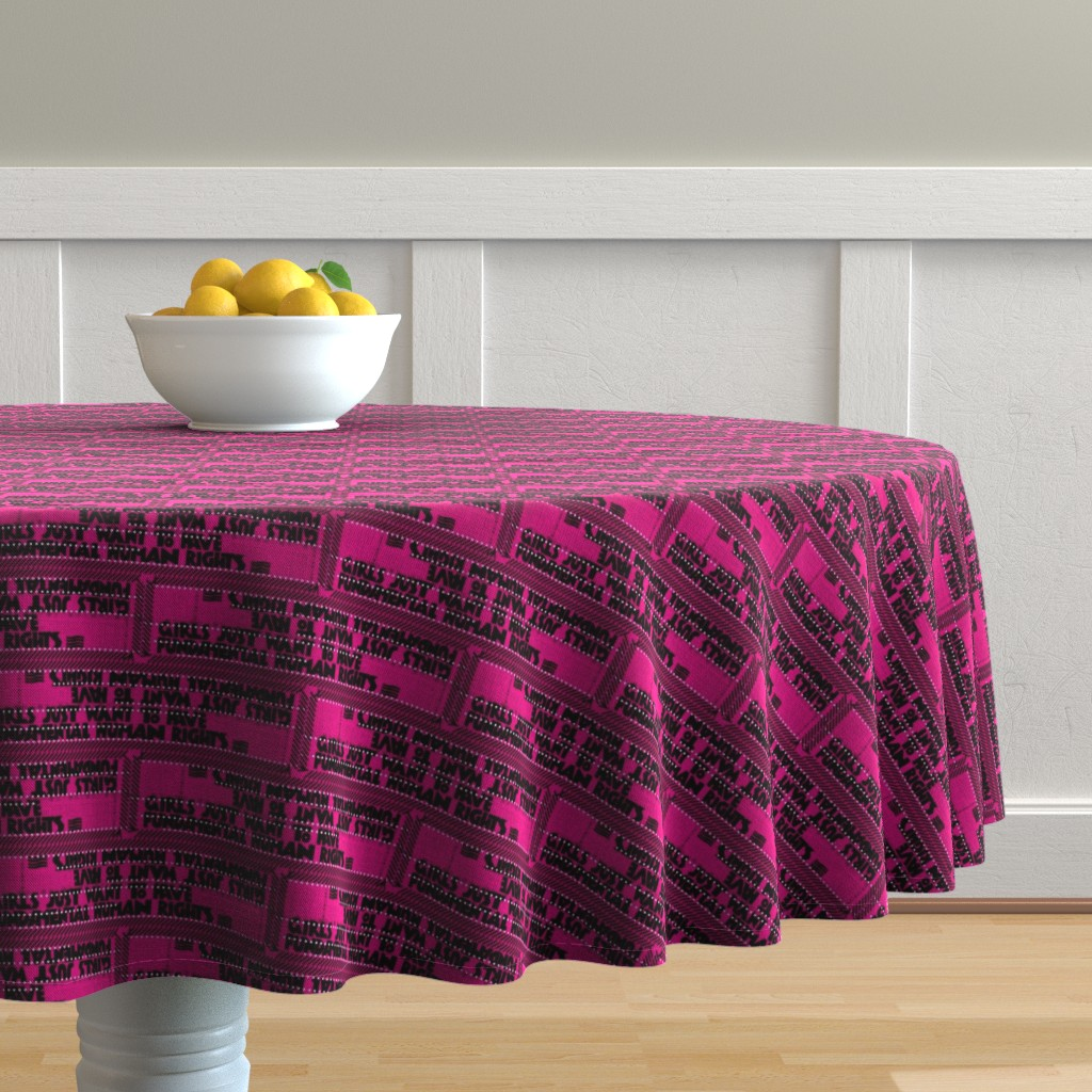 Malay Round Tablecloth featuring Fight like a girl by jerseymurmurs