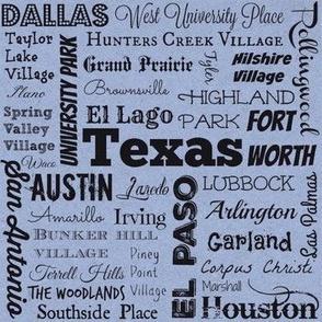 Texas cities, blue