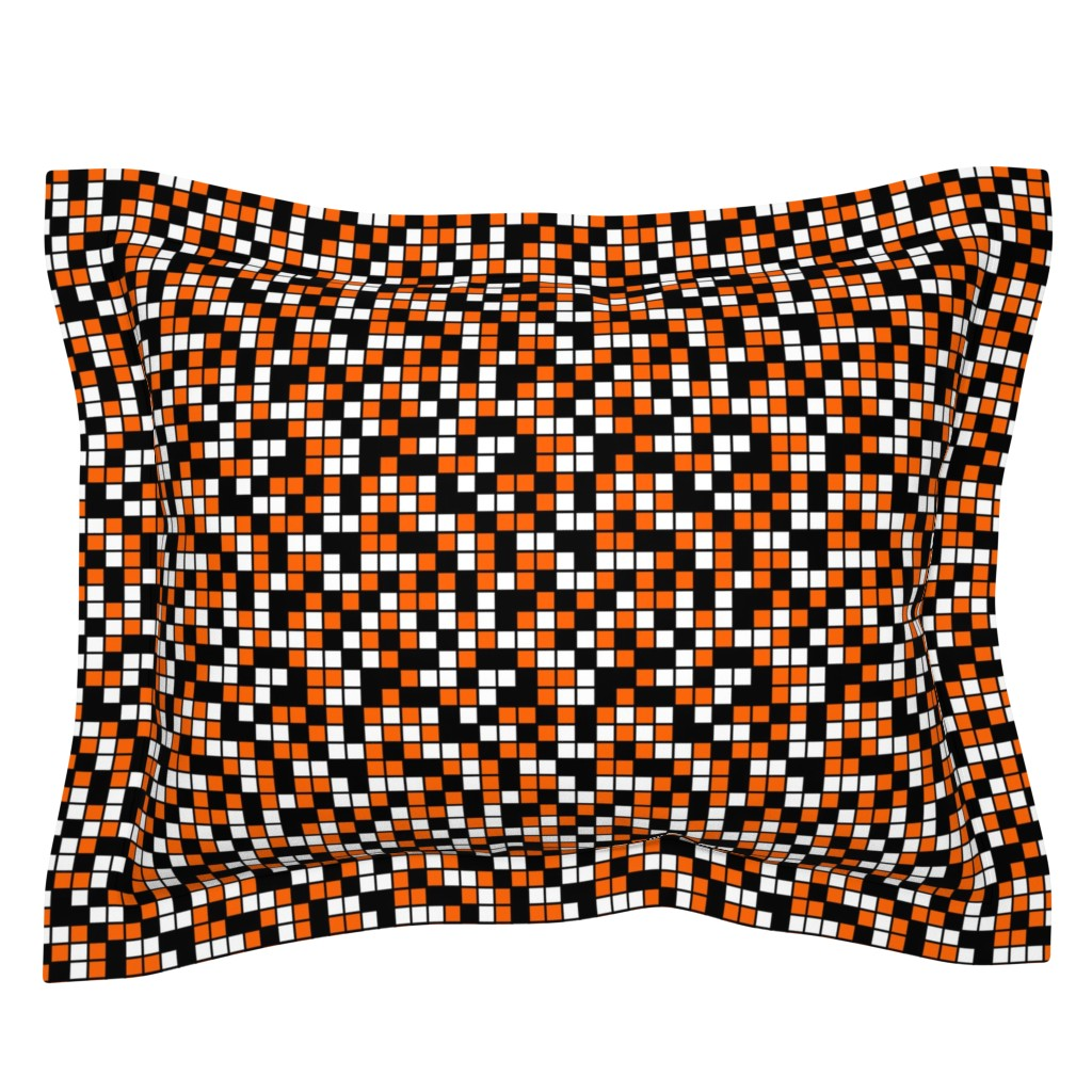Sebright Pillow Sham featuring Medium Mosaic Squares in Black, Orange, and White by mtothefifthpower