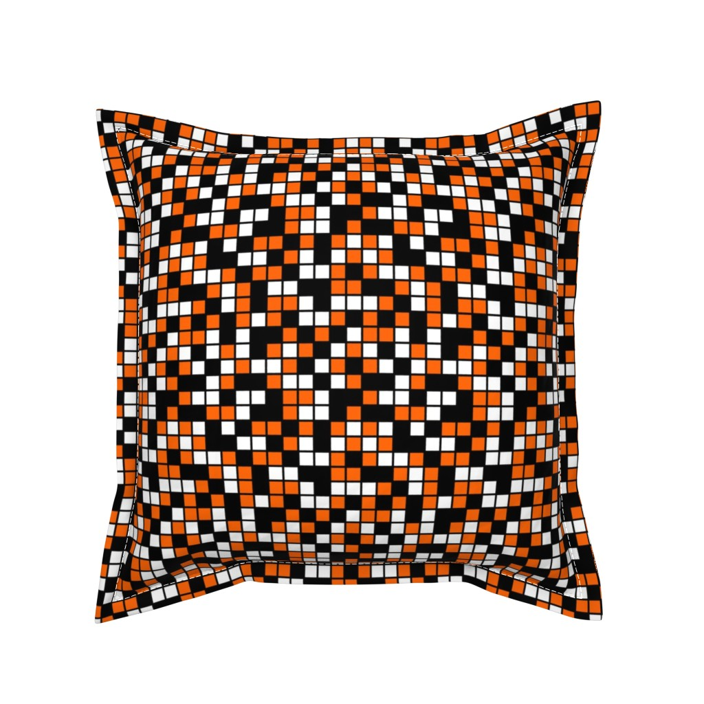 Serama Throw Pillow featuring Medium Mosaic Squares in Black, Orange, and White by mtothefifthpower