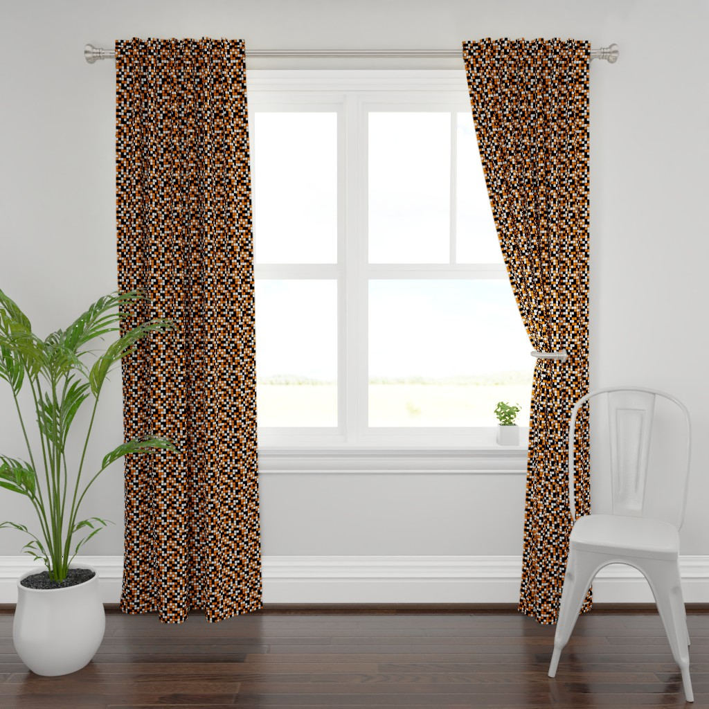 Plymouth Curtain Panel featuring Medium Mosaic Squares in Black, Orange, and White by mtothefifthpower