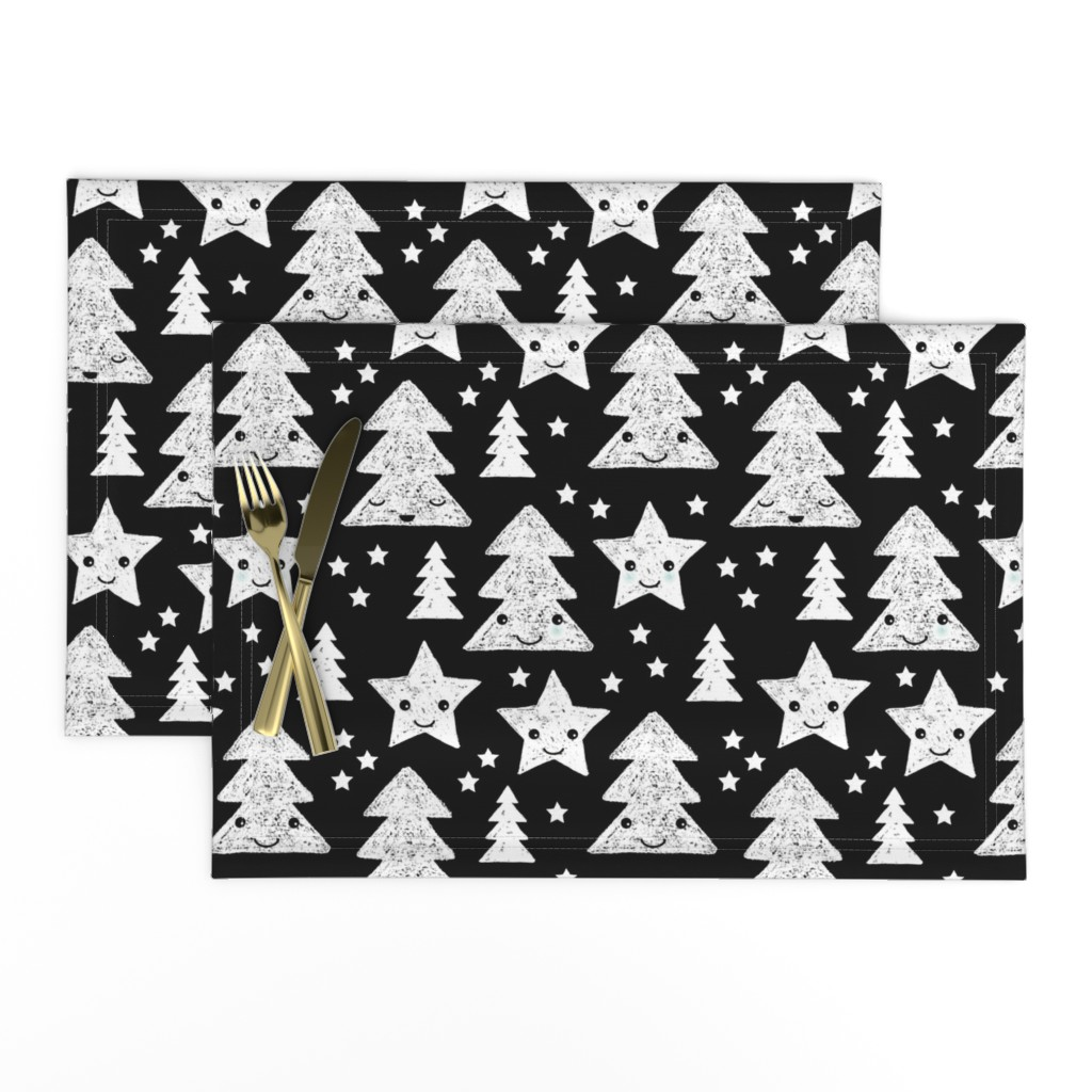 Lamona Cloth Placemats featuring Merry christmas kawaii seasonal christmas trees and stars Japanese illustration print black and white LARGE by littlesmilemakers