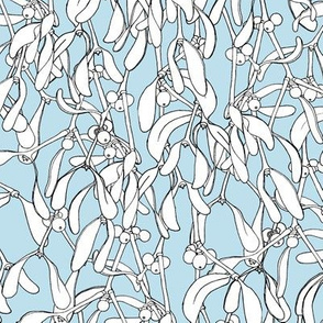 Winter Mistletoe Pattern Ice Blue