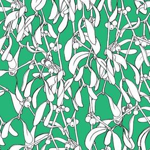 Winter Mistletoe Pattern Tropical Green