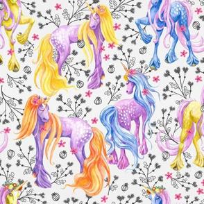 Unicorn Pattern Black Flowers