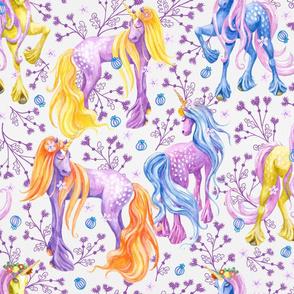 Unicorn Pattern Purple Flowers Big