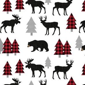 Woodland Animals Bear Moose & Deer - Red + Black Buffalo Plaid Baby Nursery Kids Children Baby Bedding