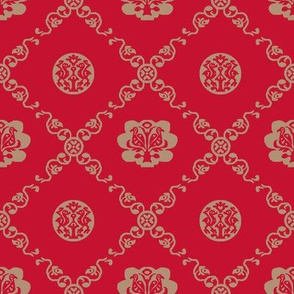 Syrian Medallions-Red and Tan