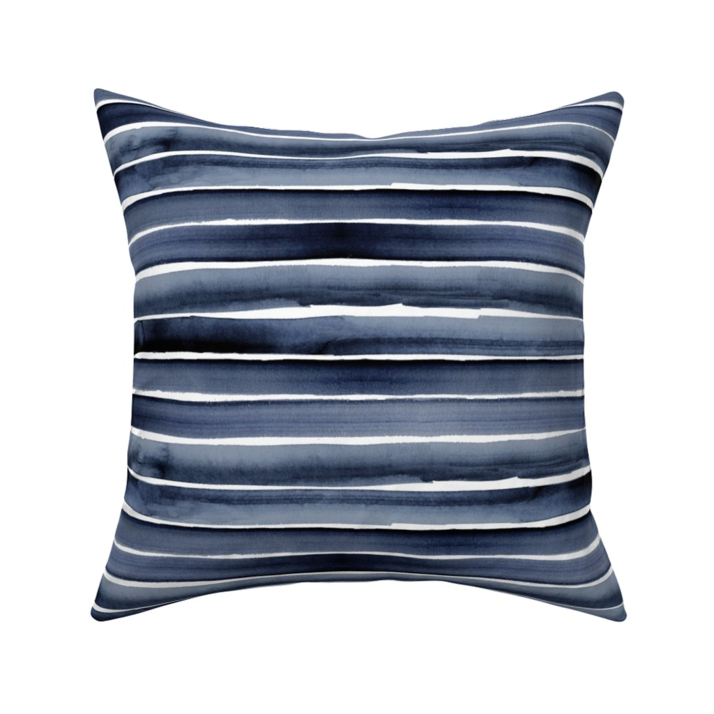 Catalan Throw Pillow featuring watercolor stripe blues by crystal_walen