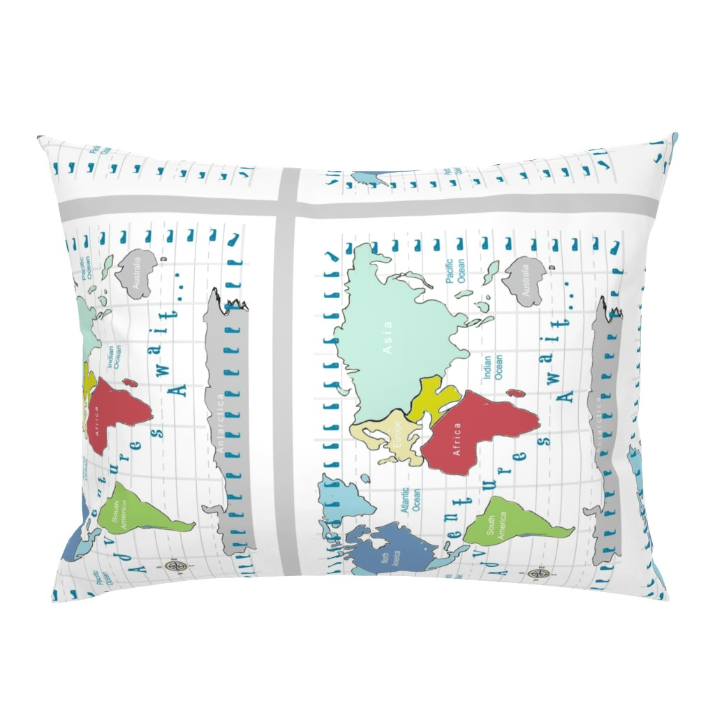 Campine Pillow Sham featuring map -adventures await - red 2718 2 on 1 fq by drapestudio