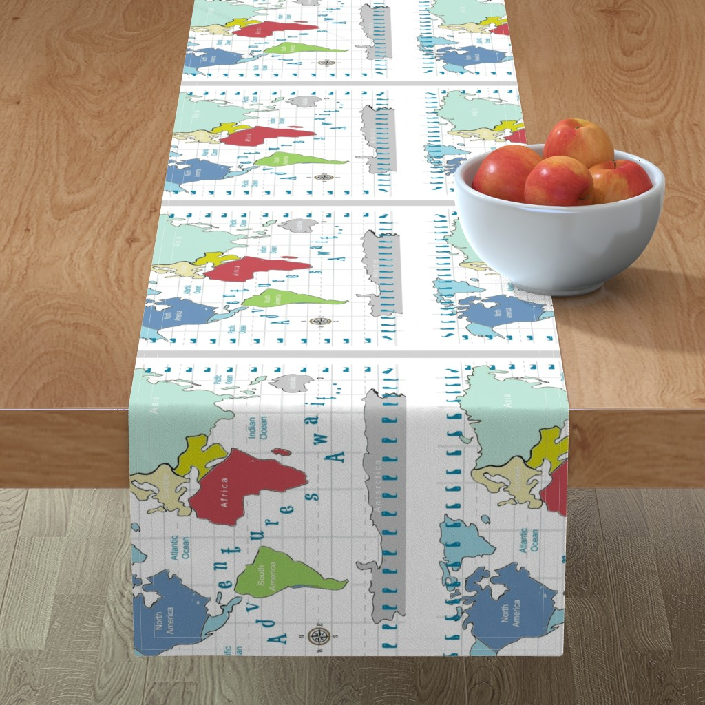 Minorca Table Runner featuring map -adventures await - red 2718 2 on 1 fq by drapestudio