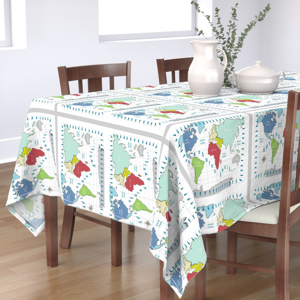 Bantam Rectangular Tablecloth featuring map -adventures await - red 2718 2 on 1 fq by drapestudio