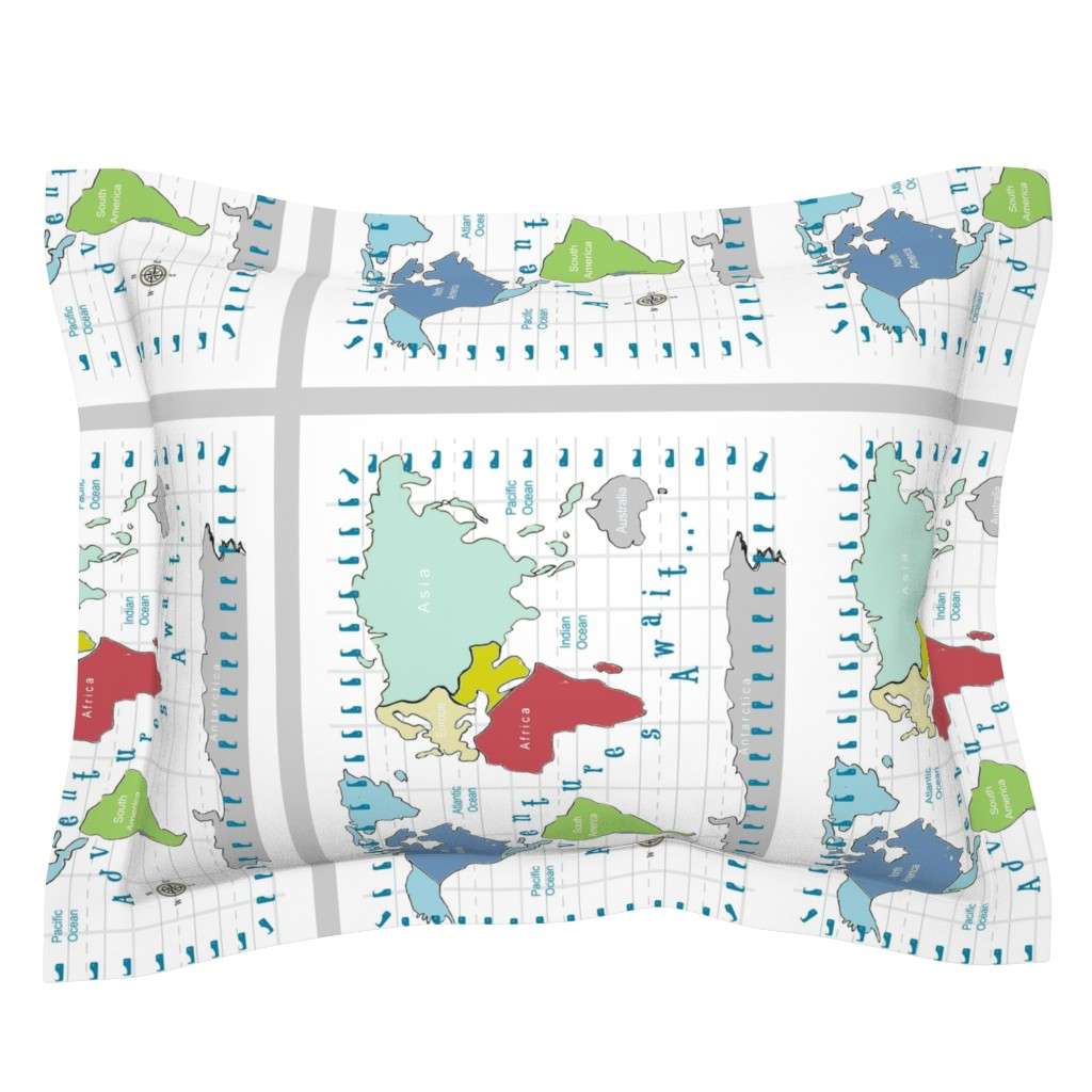 Sebright Pillow Sham featuring map -adventures await - red 2718 2 on 1 fq by drapestudio